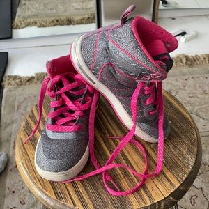 Skechers pink and grey glitter high tops.